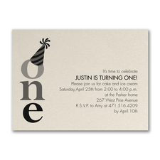 One - Birthday Invitation - Ecru Shimmer